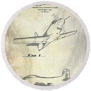 1955  Airplane Patent Drawing Round Beach Towel