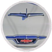 1955 Chevrolet 3100 Hood Ornament Round Beach Towel