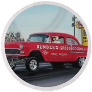 1955 Chevy Gasser Round Beach Towel