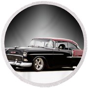 1955 Chvrolet Bel Air 'nor Cal Style' II Round Beach Towel