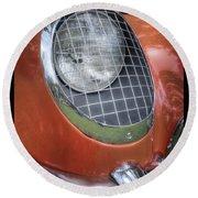 1955 Corvette Headlight Detail Round Beach Towel
