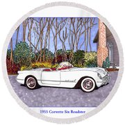 1955 Corvette Six Roadster Round Beach Towel