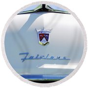 1955 Ford Fairland Hood Ornament Round Beach Towel