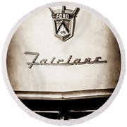 1955 Ford Fairlane Crown Victoria Emblem -1713s Round Beach Towel