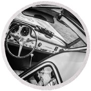 1955 Mercedes-benz 300sl Gullwing Steering Wheel - Race Car -0329bw Round Beach Towel