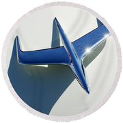 1956 Mercury Hood Ornament 1 Round Beach Towel