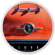1955 Oldsmobile Rocket 88 Hood Ornament Round Beach Towel