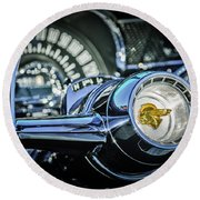 1955 Pontiac Star Chief Steering Wheel Emblem -0103c Round Beach Towel