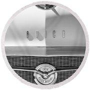 1956 Buick Special Hood Ornament - Emblem -0538bw Round Beach Towel