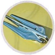 1956 Cadillac Sedan Deville Hood Ornament 2 Round Beach Towel by Jill Reger