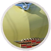 1956 Cadillac Sedan Deville Hood Ornament Round Beach Towel