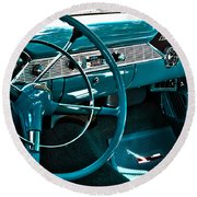 1956 Chevrolet Belair Interior Hdr No 1 Round Beach Towel