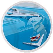 1956 Chevrolet Belair Nomad Hood Ornament Round Beach Towel