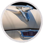 1956 Chrysler Soaring Falcon Hood Ornament Round Beach Towel