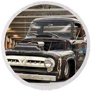 1956 Ford F100 'workingmans' Pickup I Round Beach Towel