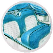 1956 Ford Fairlane Convertible 1 Round Beach Towel