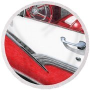 1956 Ford Fairlane Convertible 2 Round Beach Towel