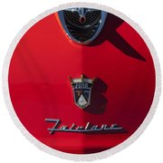 1956 Ford Fairlane Hood Ornament 2 Round Beach Towel