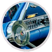 1956 Ford Thunderbird Steering Wheel And Emblem Round Beach Towel