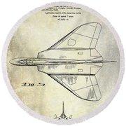 1956 Jet Airplane Patent 2 Blue Round Beach Towel