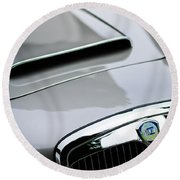 1956 Lancia Aurelia B24 Convertible Hood Emblem Round Beach Towel