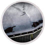 1956 Lincoln Continental Mark II Hess And Eisenhardt Convertible Grille Emblem - Hood Ornament -0126 Round Beach Towel