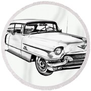 1956 Sedan Deville Cadillac Car Illustration Round Beach Towel