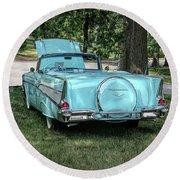 1957 Bel Air  Blue Convertible  Round Beach Towel