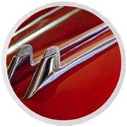 1957 Cadillac Eldorado Biarritz Hood Ornament Round Beach Towel