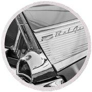 1957 Chevrolet Bel Air Tail Light Emblem -0140bw Round Beach Towel