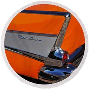 1957 Chevrolet Belair Coupe Tail Fin Round Beach Towel
