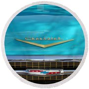 1957 Chevrolet Belair Grille 2 Round Beach Towel