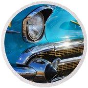 1957 Chevrolet Belair Grille Round Beach Towel