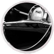 1957 Chevrolet Belair Steering Wheel Black And White Round Beach Towel
