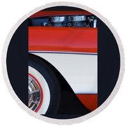 1957 Chevrolet Corvette Convertible Front End Round Beach Towel