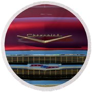 1957 Chevrolet Grille Round Beach Towel