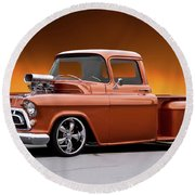 1957 Chevrolet Stepside Pickup L Round Beach Towel