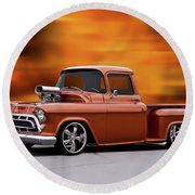 1957 Chevrolet Stepside Pickup Ll Round Beach Towel
