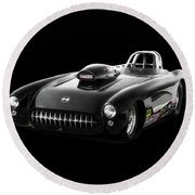 1957 Corvette Drag Car Round Beach Towel