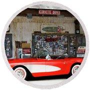 1957 Corvette Hackberry Arizona Round Beach Towel