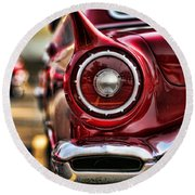 1957 Ford Thunderbird Red Convertible Round Beach Towel