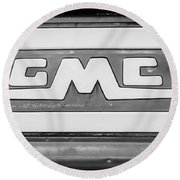 1957 Gmc Pickup Truck Tail Gate Emblem -0272bw2 Round Beach Towel