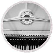 1957 Pontiac Safari Emblem -0737bw Round Beach Towel