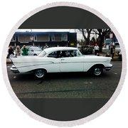 1957 White Chevy Round Beach Towel