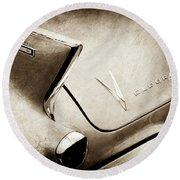 1958 Cadillac Eldorado Biarritz Taillight Emblems -0255s Round Beach Towel