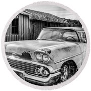 1958 Chevy Del Ray In Black And White Round Beach Towel