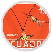 1958 Ecuador Hummingbirds Postage Stamp Round Beach Towel
