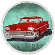 1958 Impala By Chevrolet Round Beach Towel