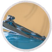 1958 Nash Metropolitan Hood Ornament Round Beach Towel