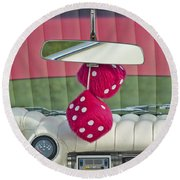 1959 Cadillac Eldorado Fuzzy Dice Round Beach Towel
